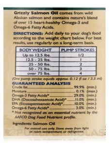 Grizzly Salmon Oil Health Benefit Chart