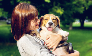 Woman hugging and carrying a Beagle Dog